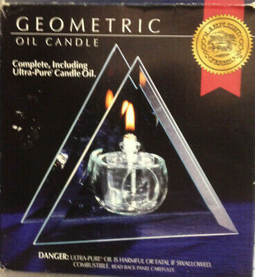 Geometric Glass Oil LAMP TRIANGLE SHAPE Floating Firew/oil And Stem 6  New • 15.46£