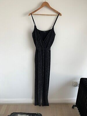 Quiz Clothing Black Silver Glitter Jumpsuit Size 10 • 0.99£