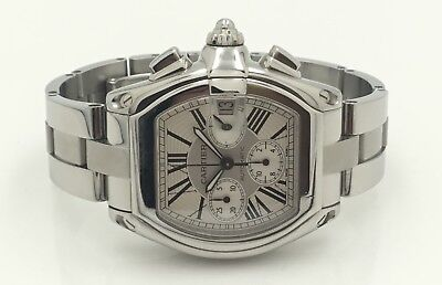 $5399 • Buy Mens Cartier Roadster Chronograph XL Stainless Steel White Dial Automatic Watch