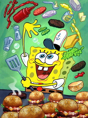 V2387 SpongeBob SquarePants Krabby Patty Hamburger Funny WALL PRINT POSTER UK • 10.95£