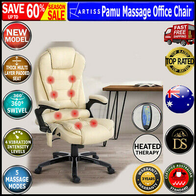 AU191.37 • Buy Artiss Massage Office Chair Heated 8 Point PU Leather Computer Chairs Recliner