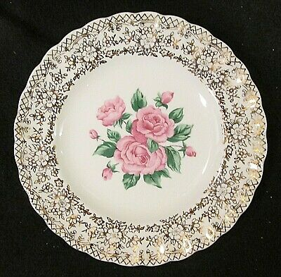 $3.75 • Buy China Bouquet By Sebring 22K Gold Filigree Pink Roses In Center Bread Plate(s)