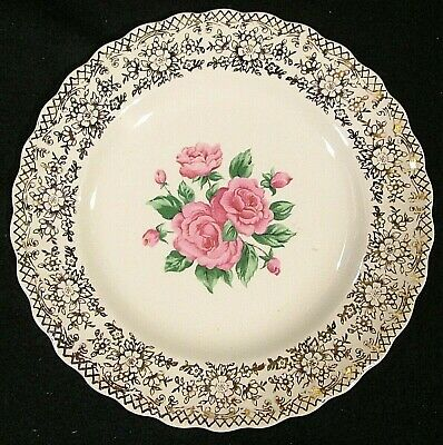 $3.75 • Buy China Bouquet By Sebring 22 K Gold Filigree Pink Roses In Center Salad Plate(s)