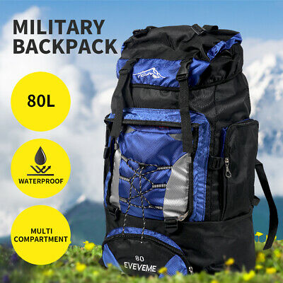 AU29.99 • Buy Military Backpack Tactical Hiking Camping Bag Rucksack Outdoor Trekking 80L