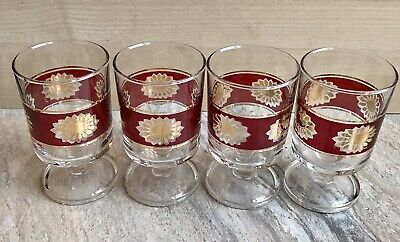 4 Vintage Glasses Ruby Red Gold Flower Sherry Port French Mid 1970's Retro • 11.99£