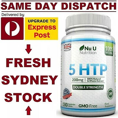 AU36.95 • Buy 5 HTP 200mg 180 Tabs DOUBLE STRENGTH PREMIUM GRADE Stress Sleep Nu U Nutrition!