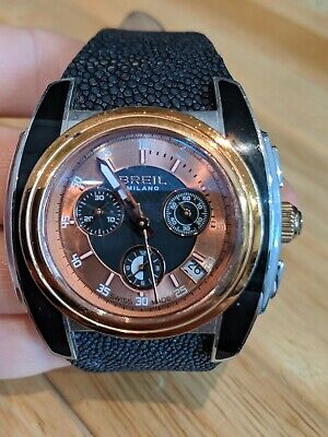 Breil Milano Black Leather Strap Watch. Rose Gold Face   • 40£