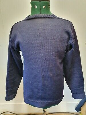 Traditional Genuine Guernsey Jumper Sweater Le Tricoteur Pullover Navy Blue S M • 25£