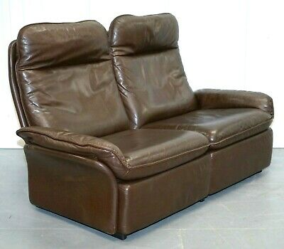 AU1707.68 • Buy De Sede BROWN LEATHER TWO SEATER SOFA IN VERY GOOD CONDITION WITH ZIPPED CUSHION
