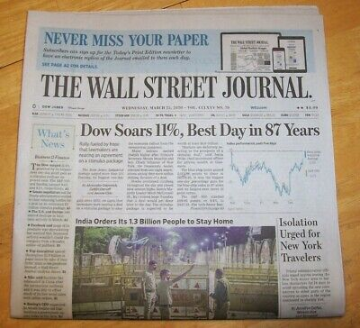 $8 • Buy THE WALL STREET JOURNAL MAR 25th 2020 DOW SOARS 11% BEST DAY IN 87 YEARS