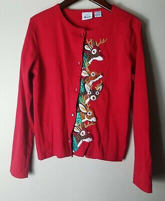 $16.79 • Buy Emma Tricot Women Red Long Sleeve Button Front Christmas Cardigan Sweater Size S