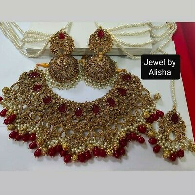 $89 • Buy  Bollywood Indian Pakistani Beautiful Bridal Jewelry Necklace Set .