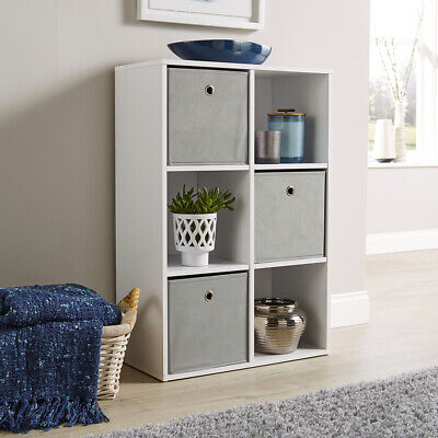 Storage Cube Shelves Bookcase Wooden Display Unit Organiser With Fabric Drawers • 34.99£
