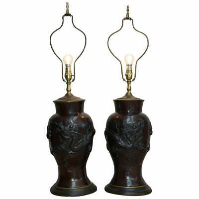 Pair Of Vintage Chinese Export Bronze Table Lamps With Dragons & Floral Decor  • 1,250£