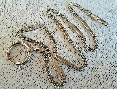 1920s SILVERTONE METAL Curb-Link Watch Chain FANCY LINK Dog Clip Bolt Ring LONG • 28£