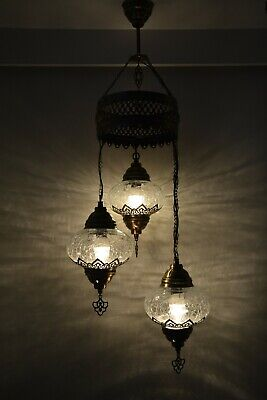 £120 • Buy Turkish Moroccan Crackle Clear Glass Hanging Lamp Ceiling Light Chandelier