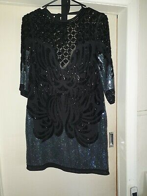 AU45 • Buy Asos Size 10 Blacl Beaded Dress 20s Style Costume Theatrical