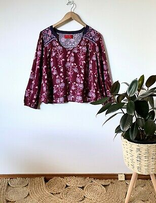 AU40 • Buy TIGERLILY 'Carriacou' Mulberry Floral Print Top Sz 8 | Ex Cond