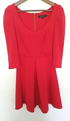 AU35 • Buy FOREVER NEW Ladies Designer Red 3/4 Sleeve Stretchy Retro Style Dress Size 6 EUC