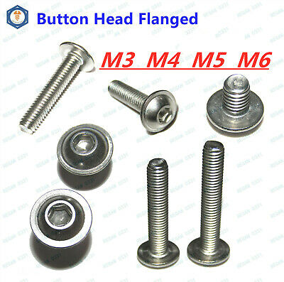 $9.96 • Buy M3 M4 M5 M6 Stainless Steel Button Head Hex Socket Flange Head Washer Screw Bolt