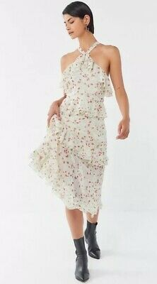 AU9 • Buy New Urban Outfitters Sacramento Tiered Ruffle Cross-Back Midi Dress Size 2/6
