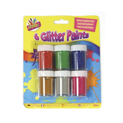 Childrens Glitter Paint Pot Sets Poster Painting Kids Arts And Crafts Set • 4.99£