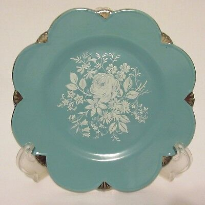 $ CDN24.98 • Buy Royal Winton Grimwades Turquoise Aqua Teal Blue Flowers Silver Trim Plate 8