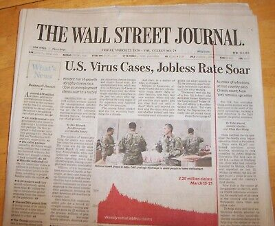 $8 • Buy THE WALL STREET JOURNAL ~ FRIDAY MARCH 27th,  US VIRUS CASES, JOBLESS RATE SOAR