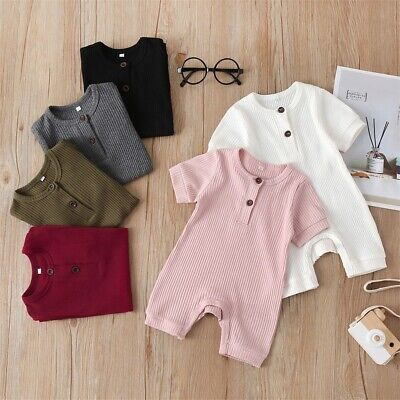 AU14.99 • Buy Newborn Baby Boy Girl Clothes Solid Color Romper Jumpsuit Overall Outfit Set