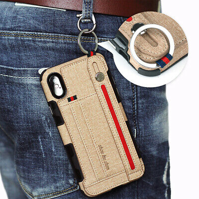 AU16.99 • Buy Wrist Strap Case For IPhone 11 Pro XS Max 7 8 Plus X Card Holder Cover Kickstand