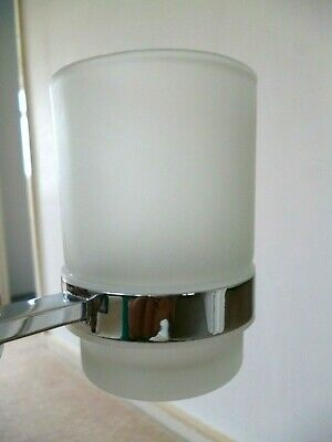 Wall Mounted Chrome Finish Tumbler Holder With Glass Tumbler • 5£