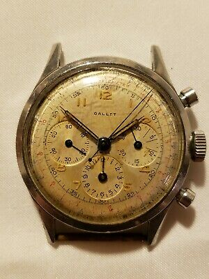 $ CDN1128.20 • Buy Rare Vintage Gallet Chronograph Mens Wristwatch Watch 3 Register Jxr No Reserve!