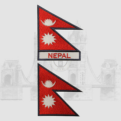 Nepal National Iron On Embroidered Patch Sew On Patch Badge For Clothes • 2.29£