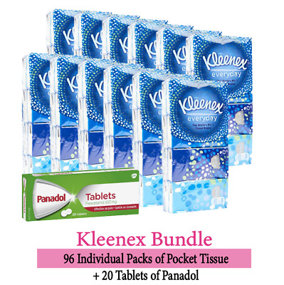 AU51.39 • Buy 96 Packs Of Kleenex Everyday Pocket Tissues + 20 Tabs Paracetamol Panadol 500mg