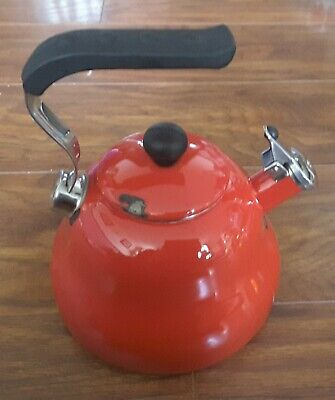 Faberware Traditional Enamel Kettle With Whistle Red Stove Top • 12.50£