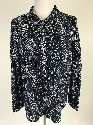$21.99 • Buy J.CREW L/S 'The Perfect Shirt In Tropical Frond' (Lightweight Cotton) - XL, Navy