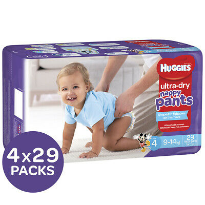 AU89.95 • Buy Huggies Ultra Dry Nappy Pants Boys Size 4 Toddler 9-14kg 4x29 Pack, 116 Count