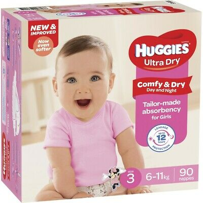 AU69 • Buy Huggies Ultra Dry Mega Nappies Girls Size 3 Crawler (6 - 11kg) - 90 Pack