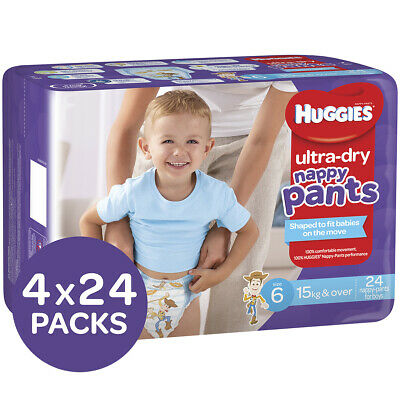 AU89.59 • Buy Huggies Ultra Dry Nappy Pants Size 6 Boys, 15kg & Over 24x4 Packs 96 Count