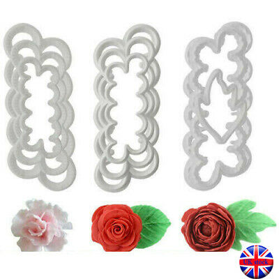 9Pcs 3D Peony Rose Petal Flower Icing Cutter Mold Cake Decorating Fondant Mould • 5.29£