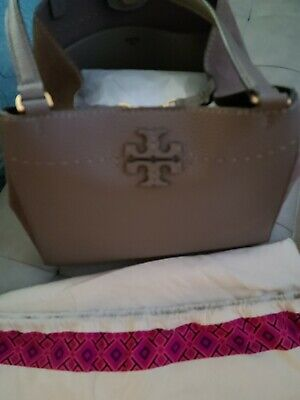$200 • Buy NEW TORY BURCH McGraw $498 SILVER MAPLE Leather Carryall TOTE BAG HANDBAG PURSE