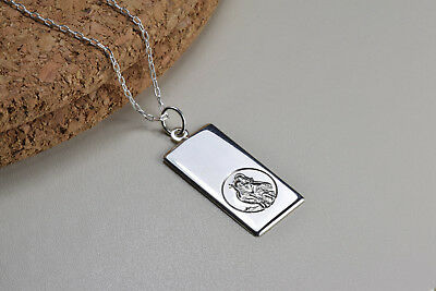 Sterling Silver, St. Christopher Ingot Necklace 30mm • 26.99£