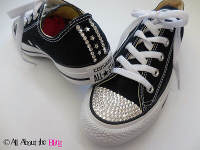 CONVERSE ALL STAR Black With SWAROVSKI CRYSTALS And Stars Exclusive • 93.98£