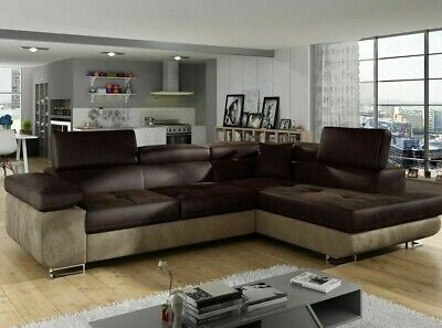 Corner Sofa Bed ANTON P With Storage Container Sleep Function Springs New • 695£