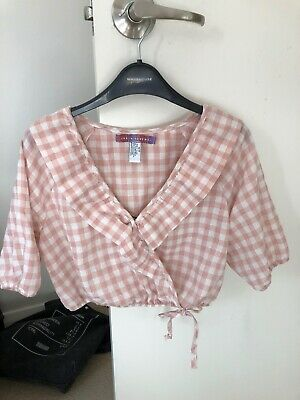 AU10 • Buy Urban Outfitters Renewal Cropped Pink Gingham Top Size XS