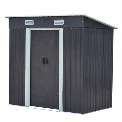 Garden Pent Metal Shed Greenhouse Tool Storage 4X6ft With Double Doors &Air Vent • 218.95£