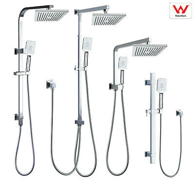AU66.70 • Buy WELS Square 8'' Twin Shower Head 3 Modes Handheld Diverter Wall Rail Combo Set