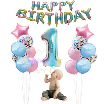 Happy Birthday Number Foil Rainbow Balloons Set Baby Shower Birthday Party Balon • 4.99£