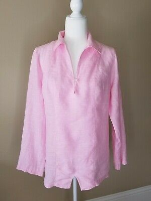 $29.98 • Buy Island Company Women's Top Linen Long Sleeve Collared V Neck Pink Tunic Size M