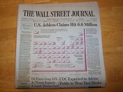 $9 • Buy THE WALL STREET JOURNAL FRI APRIL 3rd 20 OIL PRICES LEAP,  CDC FACE MASK ADVICE